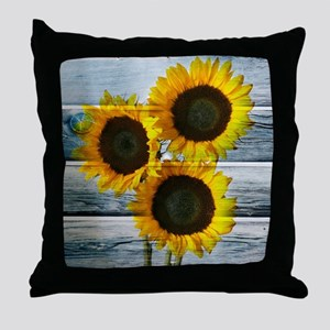 Rustic Sunflowers Blue Wood Throw Pillow